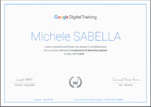 Attestato Google Digital Training Michele Sabella