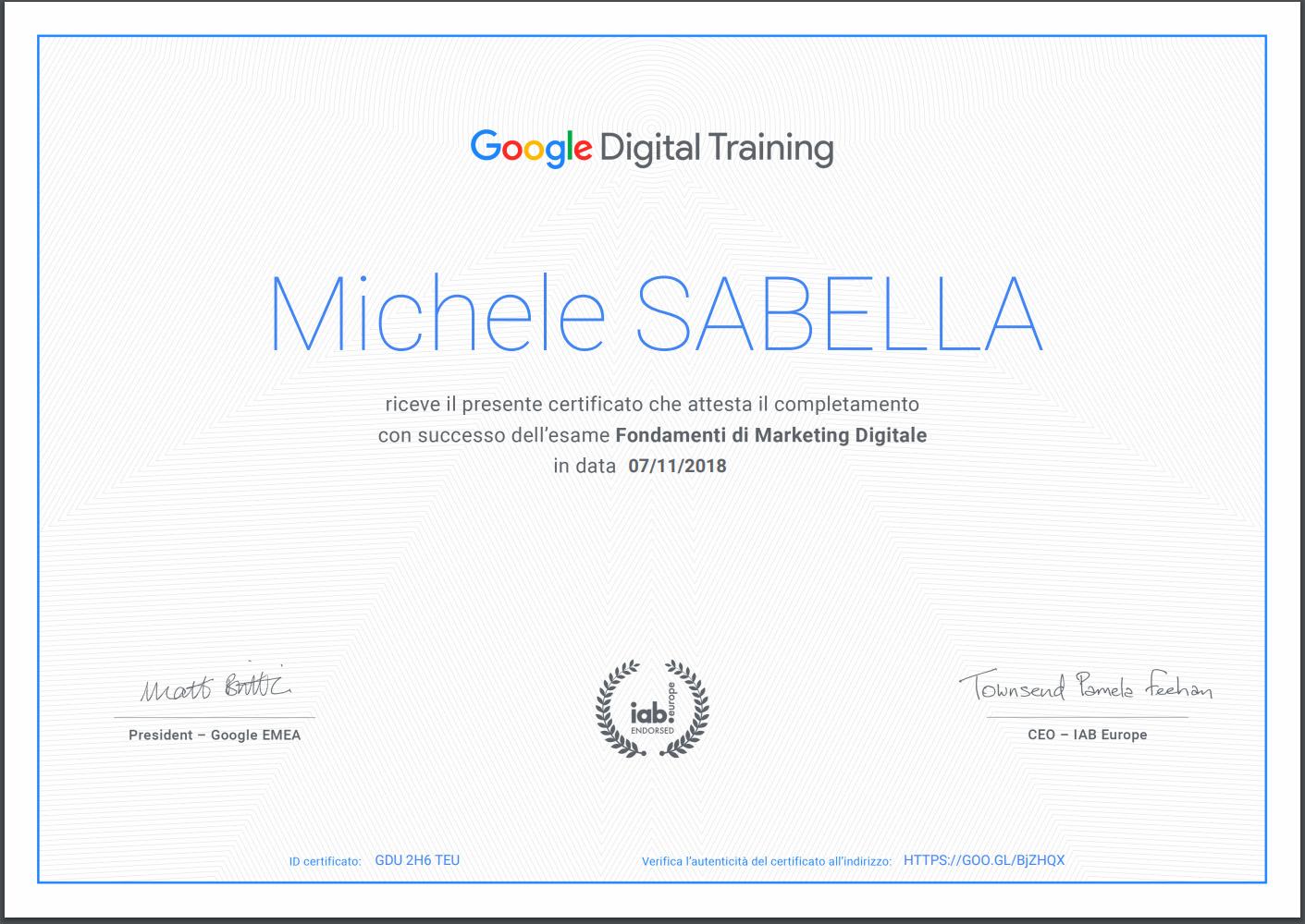 Attestato Google Digital Training Michele Sabella