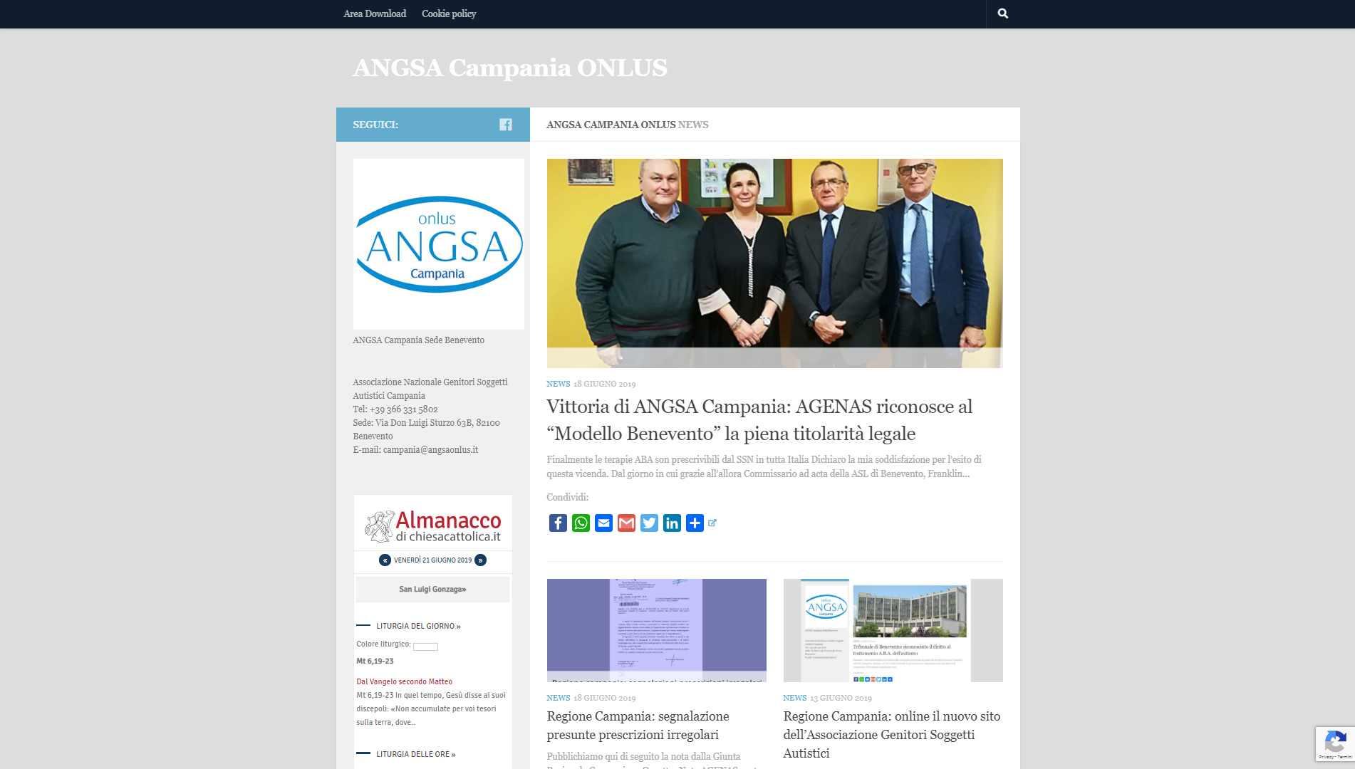 Visualedigitale Webagency Benevento ANGSA Associazione Nazionale Soggetti Autistici Sezione CAMPANIA versione desktop