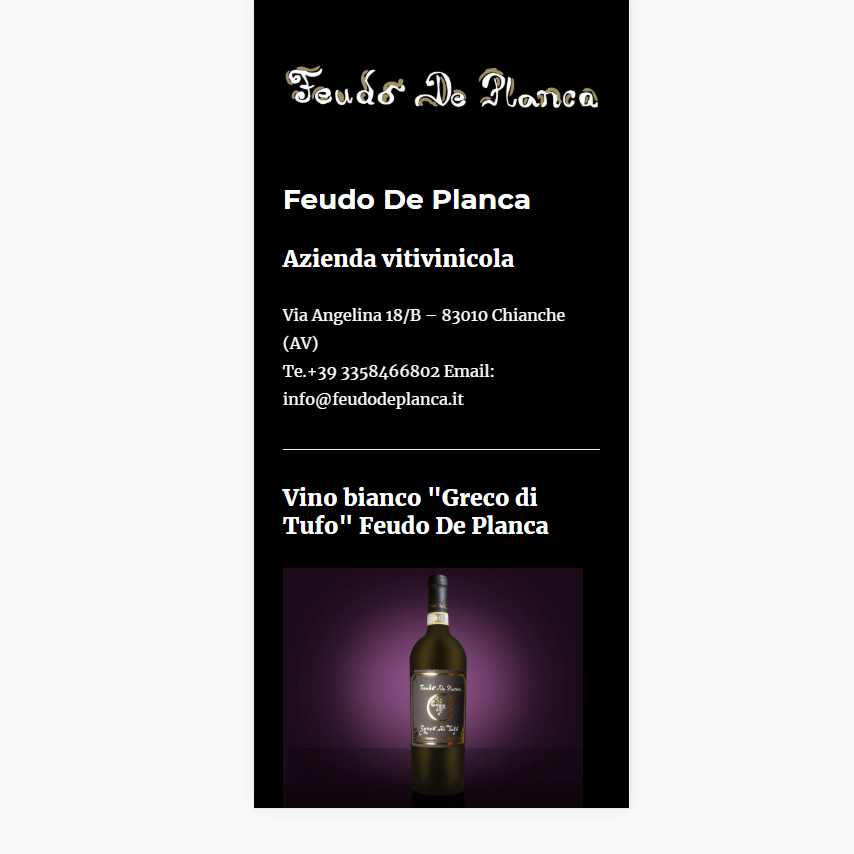 Visualedigitale Webagency Benevento Azienda Vitivinicola Feudo De Planca versione mobile