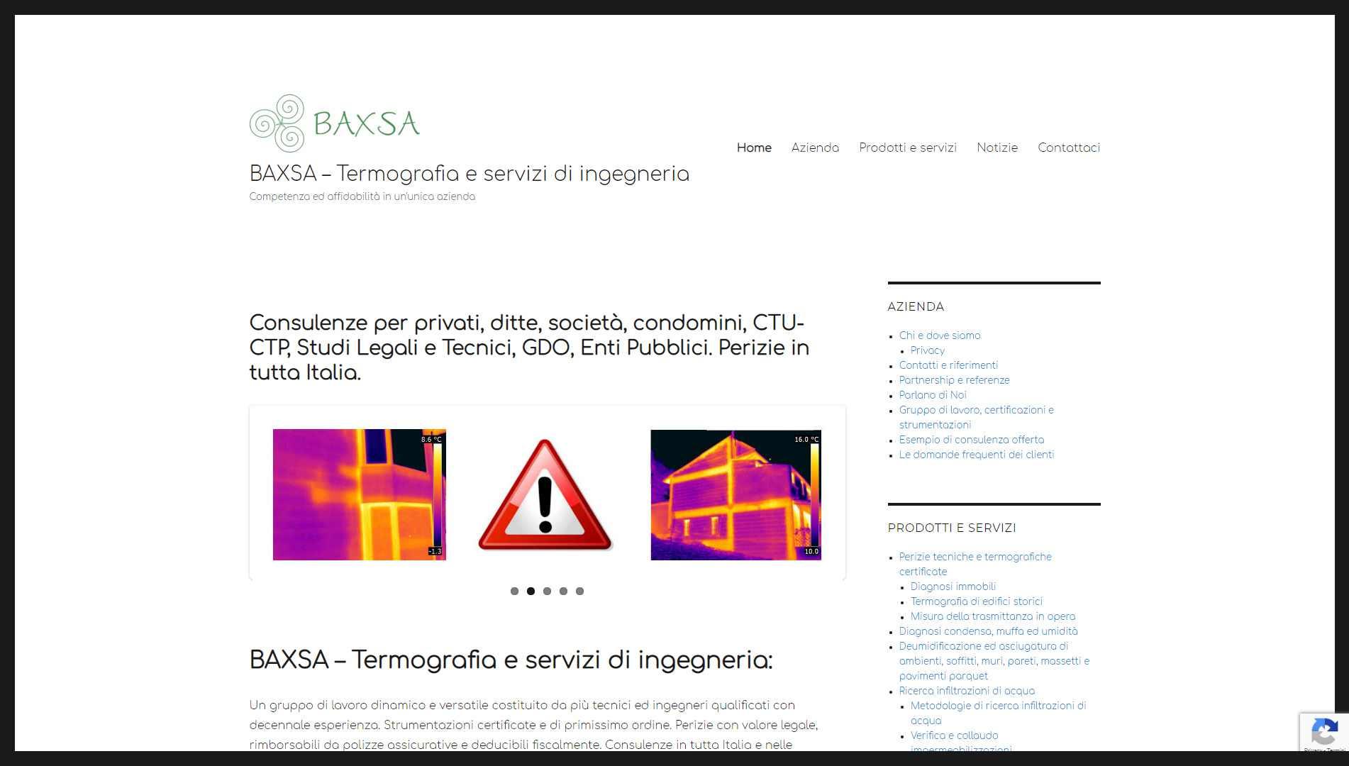 Sito web BAXSA Servizi di termografia ed ingegneria