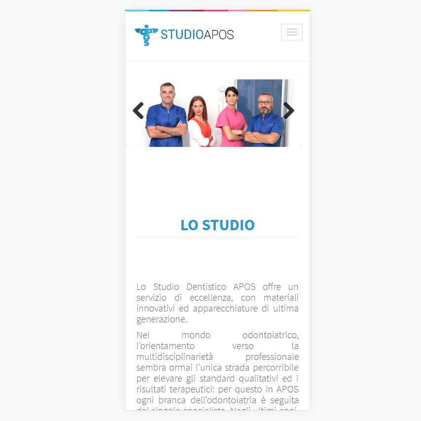 Angolodivisuale Webagency Benevento Dentista Studio APOS Dott Sapio versione mobile