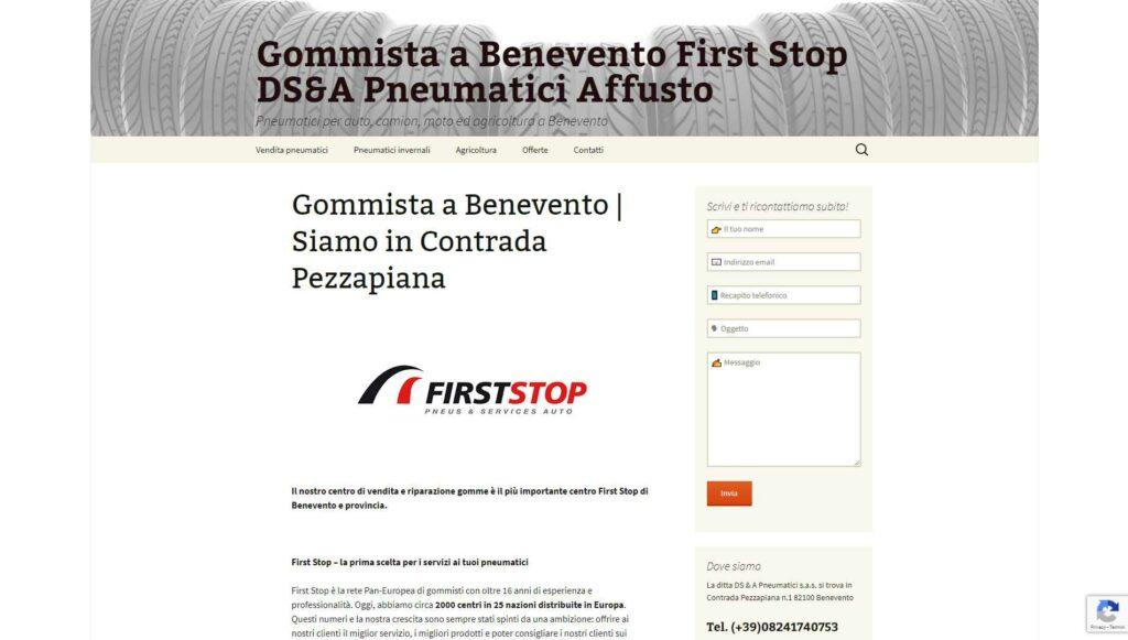 Visualedigitale Webagency Benevento Gommista DSA First Stop versione desktop