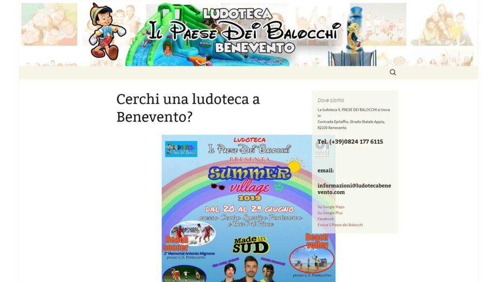 Visualedigitale Webagency Benevento Ludoteca Il Paese Dei Balocchi versione desktop
