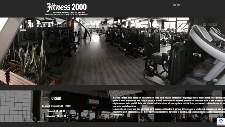 Sito web Wellness Center Palestra Fitness 2000 a Benevento