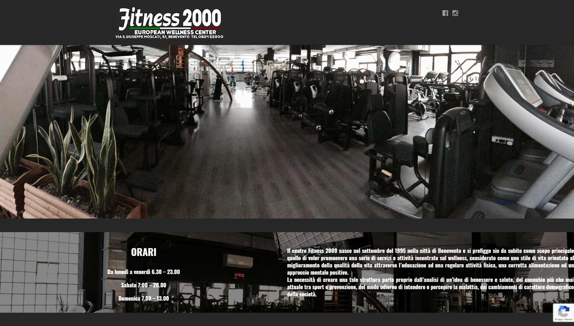 Sito web Wellness Center Palestra Fitness 2000 a Benevento