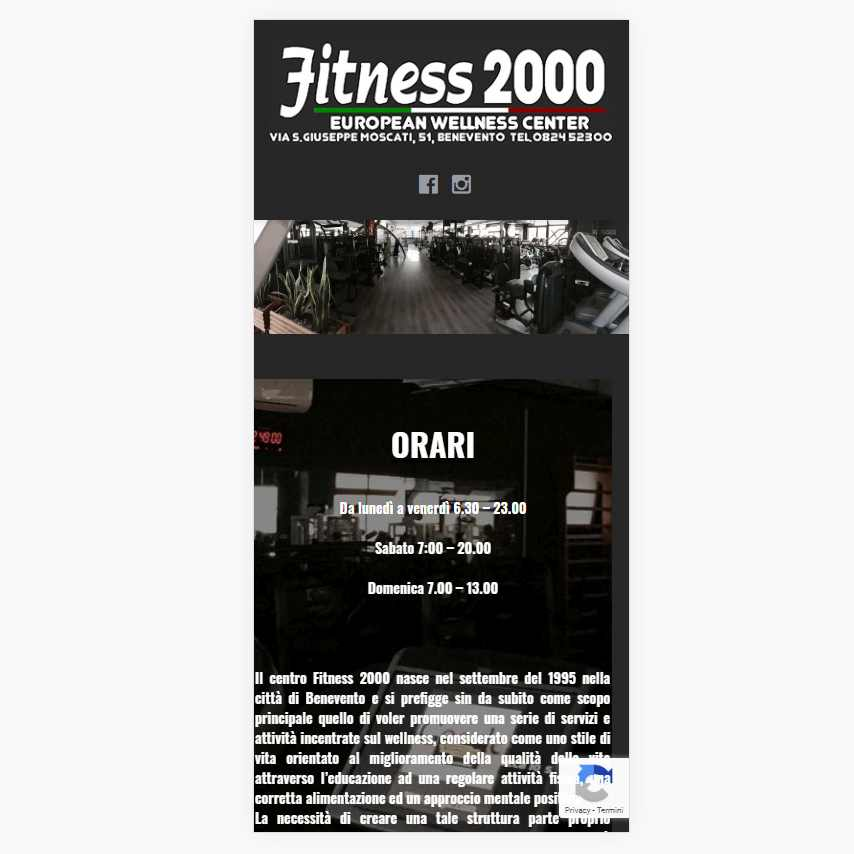 Visualedigitale Webagency Benevento Palestra FITNESS 2000 versione mobile