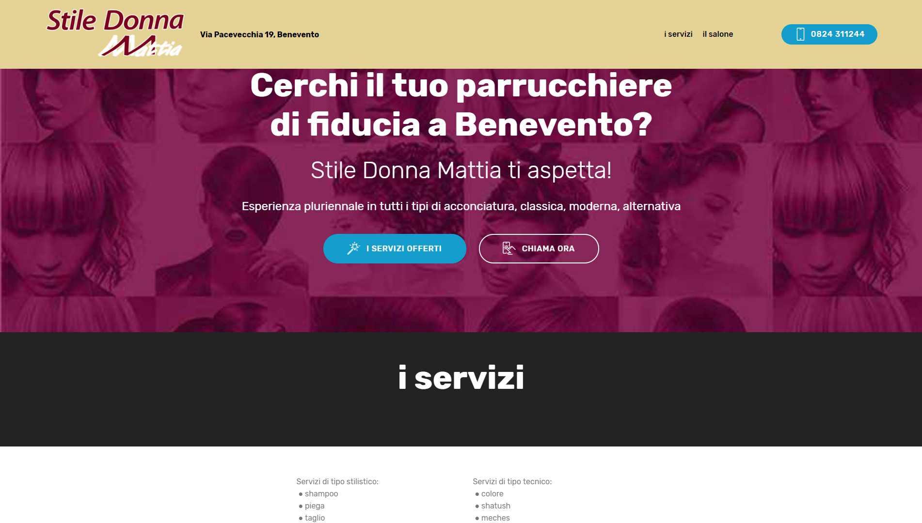 Sito Web Stile Donna Mattia Parrucchiere a Benevento